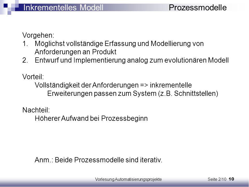 Vorlesung Automatisierungsprojekte Seite 2/10