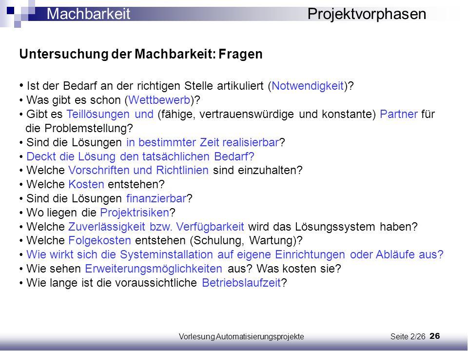 Vorlesung Automatisierungsprojekte Seite 2/26