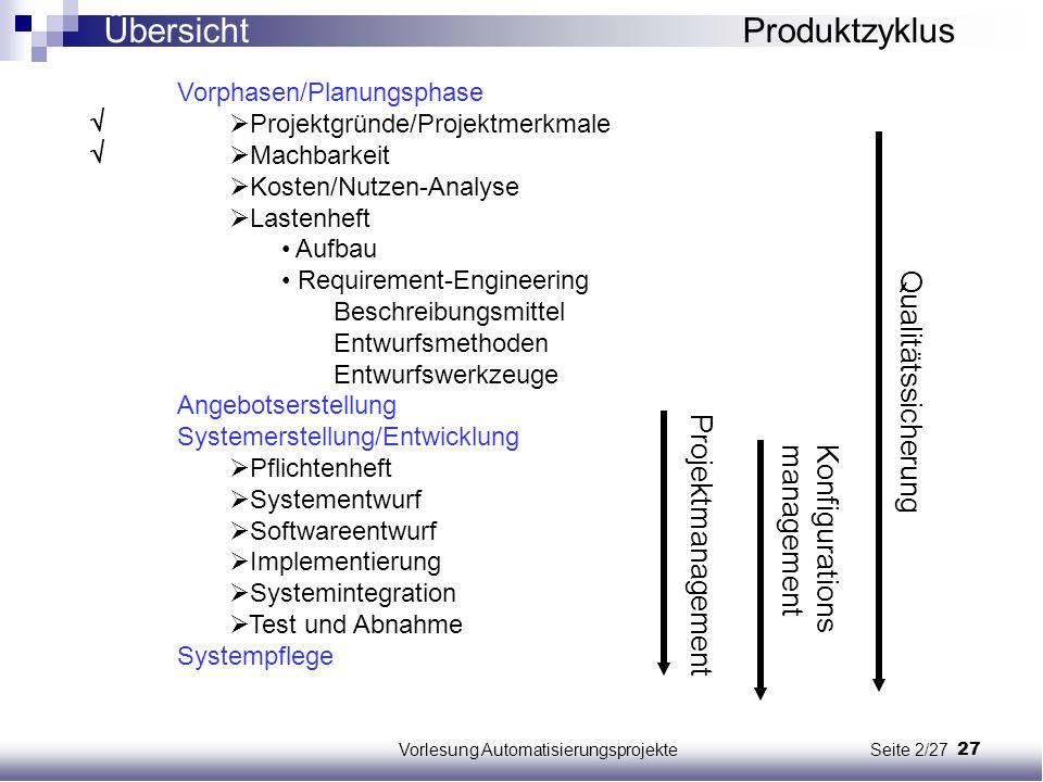Vorlesung Automatisierungsprojekte Seite 2/27
