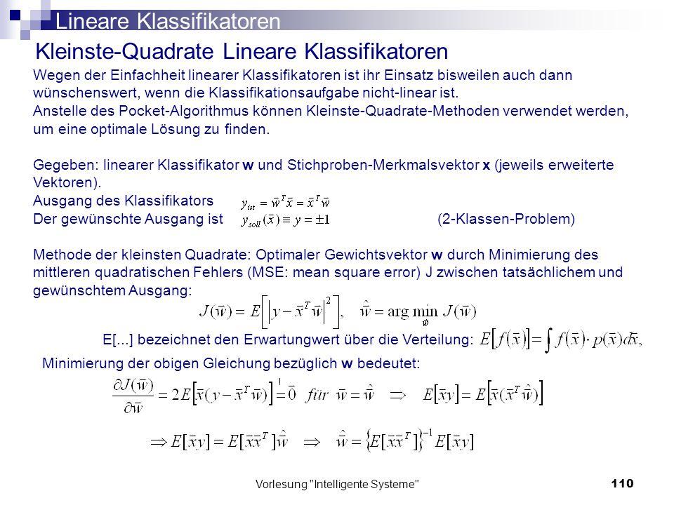 Lineare Klassifikatoren Kleinste-Quadrate Lineare Klassifikatoren