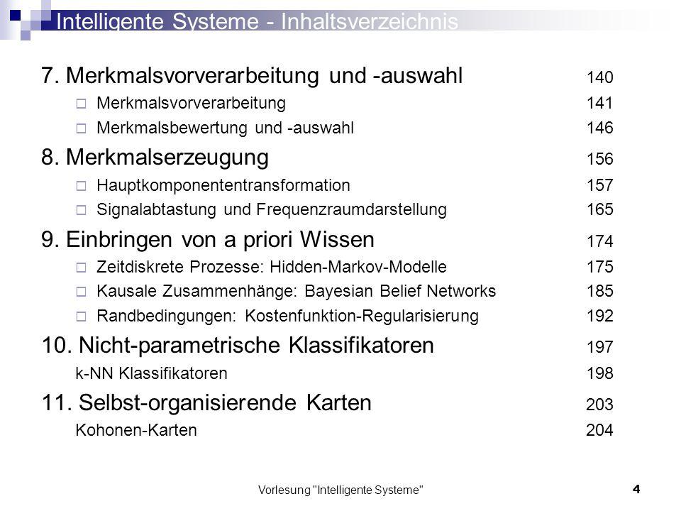 Intelligente Systeme - Inhaltsverzeichnis