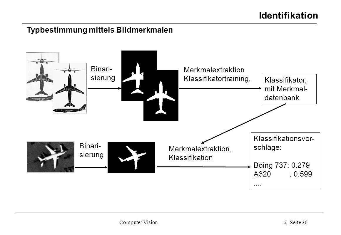 Identifikation Typbestimmung mittels Bildmerkmalen Binari- sierung
