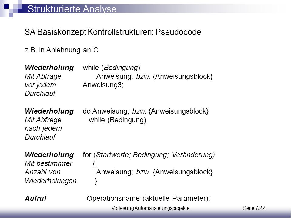 Vorlesung Automatisierungsprojekte Seite 7/22