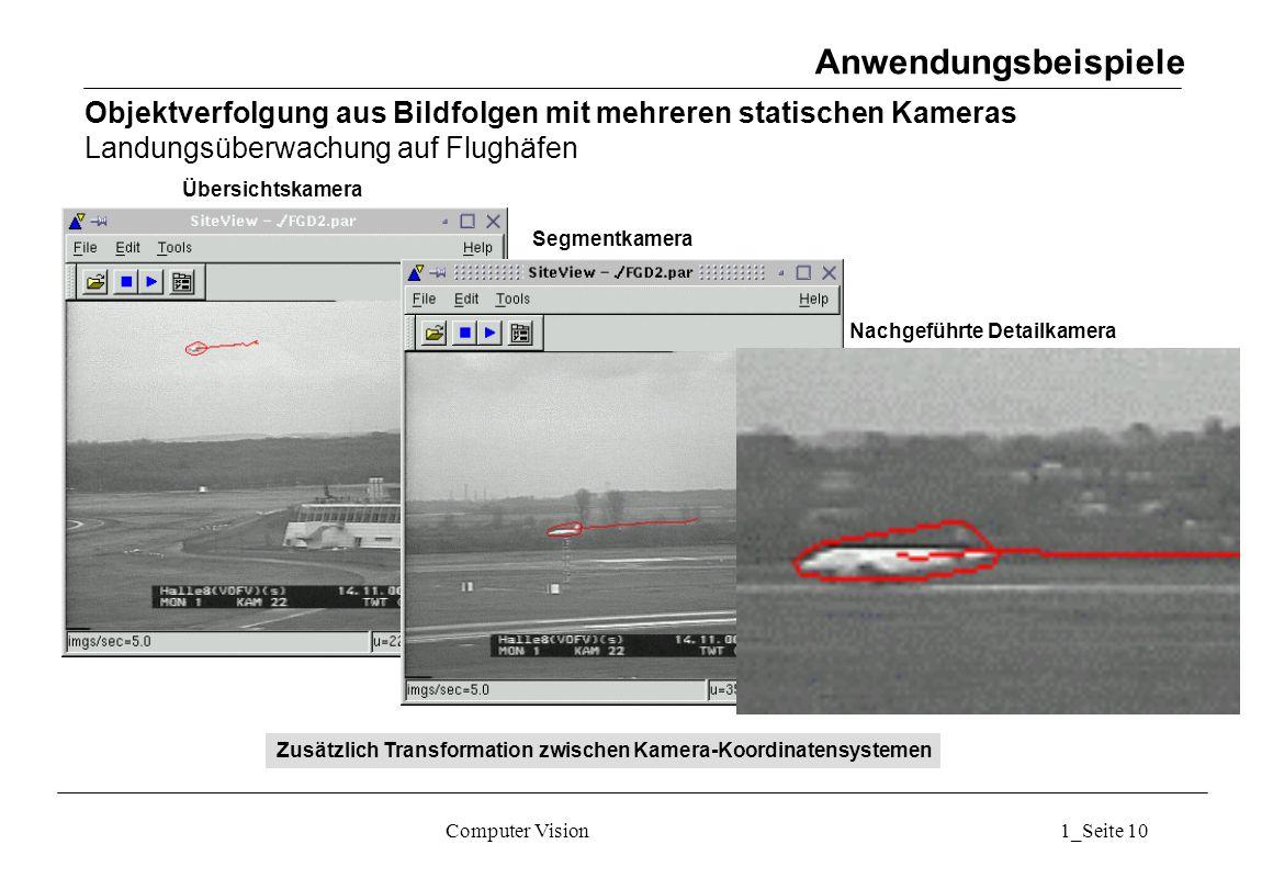 Anwendungsbeispiele Objektverfolgung aus Bildfolgen mit mehreren statischen Kameras Landungsüberwachung auf Flughäfen.