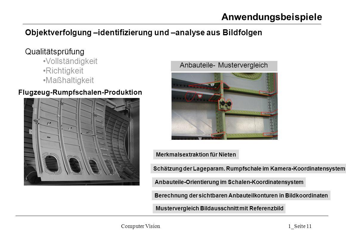 Anwendungsbeispiele Objektverfolgung –identifizierung und –analyse aus Bildfolgen. Qualitätsprüfung.
