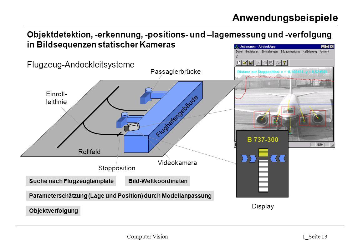 Anwendungsbeispiele Objektdetektion, -erkennung, -positions- und –lagemessung und -verfolgung. in Bildsequenzen statischer Kameras.