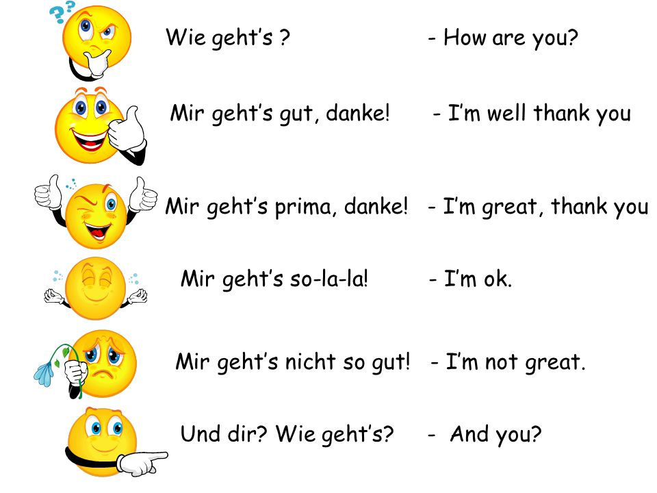 Wie geht's - How are you Mir geht's gut, danke! - I'm well thank you. Mir geht's prima, danke! - I'm great, thank you.
