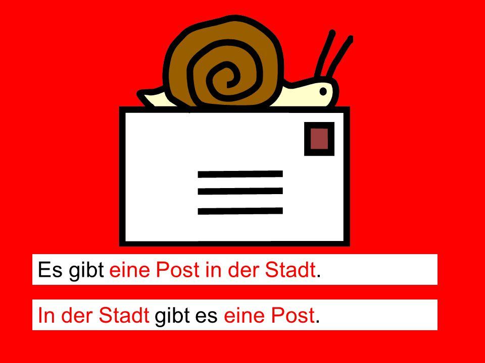 Es gibt eine Post in der Stadt.
