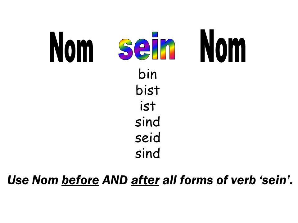 Nom Nom sein bin bist ist sind seid sind