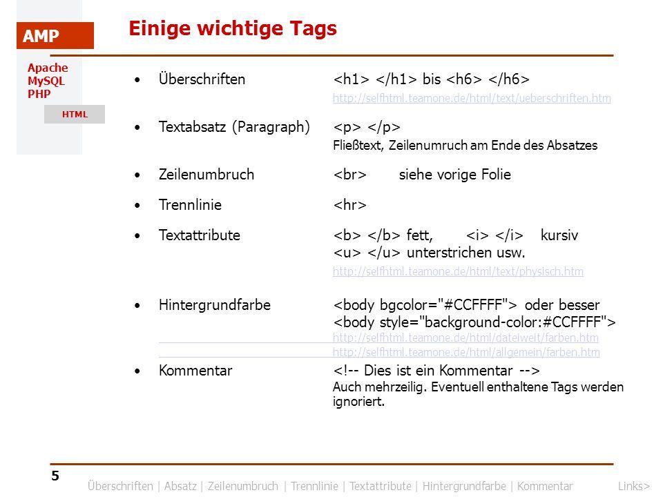 Einige wichtige Tags Überschriften <h1> </h1> bis <h6> </h6> http://selfhtml.teamone.de/html/text/ueberschriften.htm.