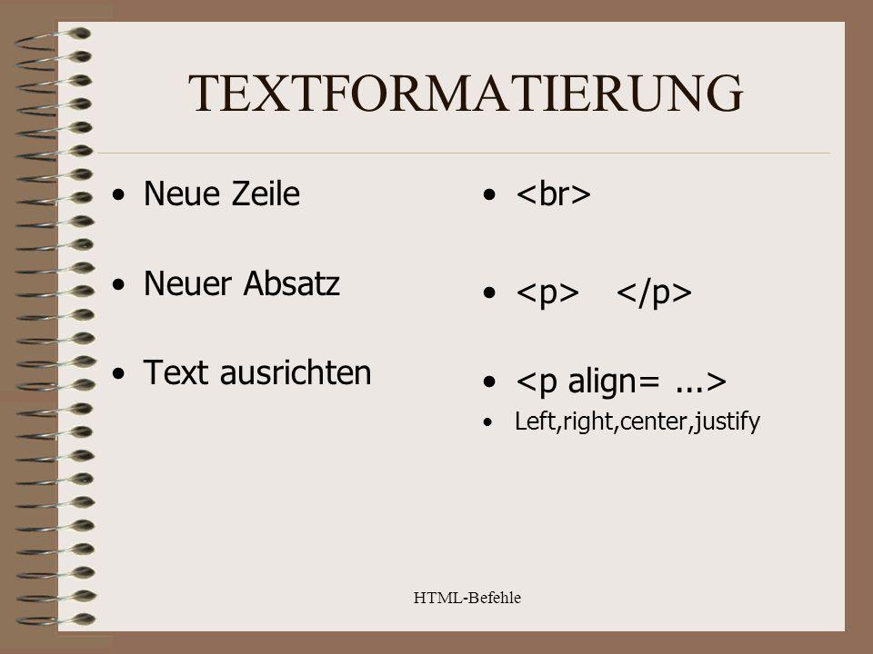 TEXTFORMATIERUNG Neue Zeile Neuer Absatz Text ausrichten <br>