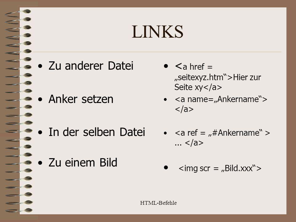 LINKS Zu anderer Datei Anker setzen In der selben Datei Zu einem Bild