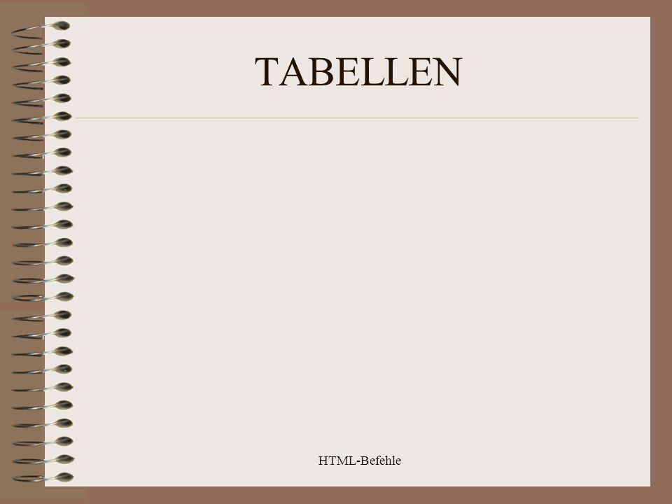 TABELLEN HTML-Befehle