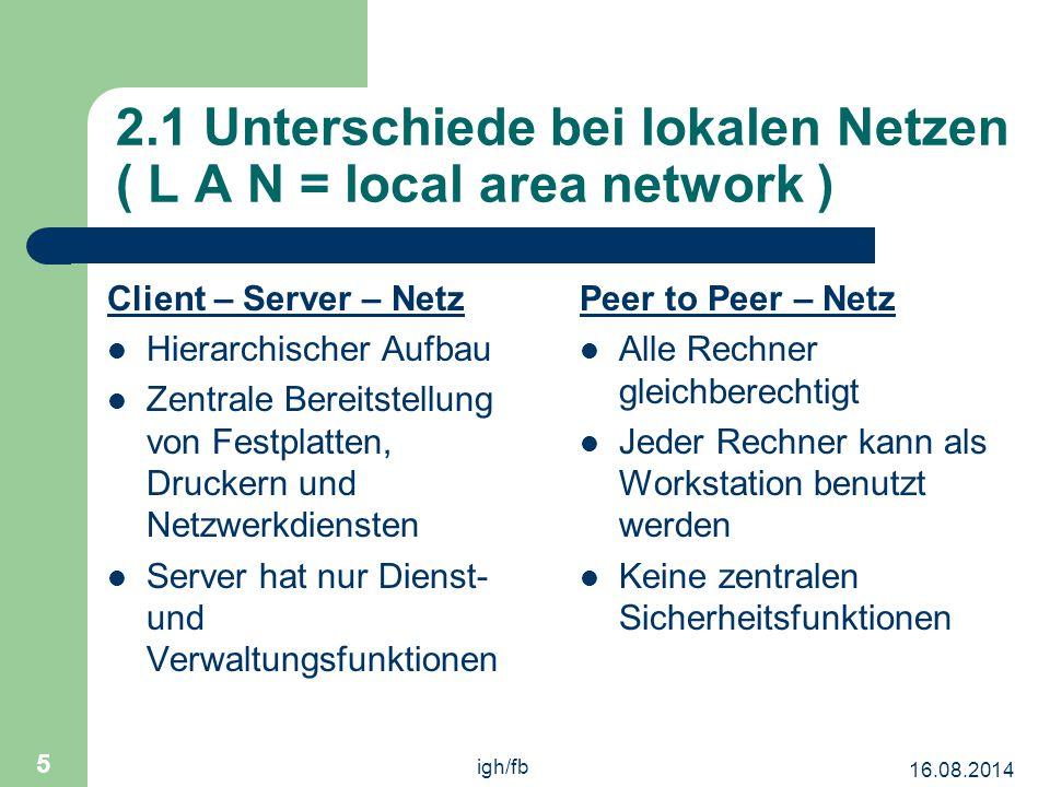 2.1 Unterschiede bei lokalen Netzen ( L A N = local area network )