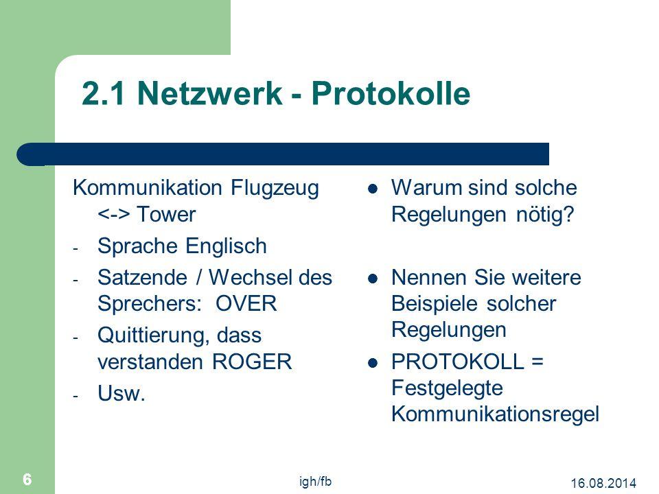 2.1 Netzwerk - Protokolle Kommunikation Flugzeug <-> Tower