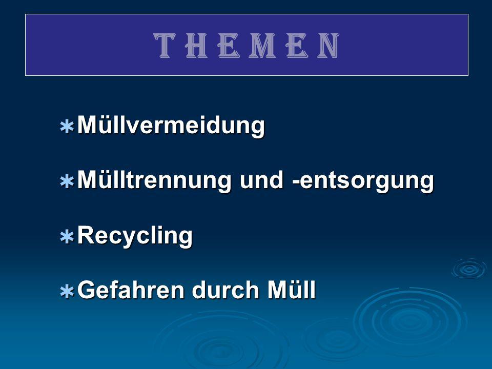 T H E M E N Müllvermeidung Mülltrennung und -entsorgung Recycling