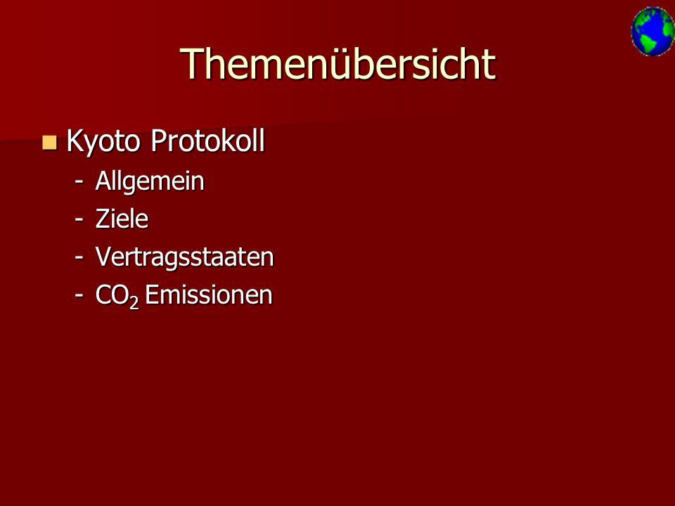 Themenübersicht Kyoto Protokoll Allgemein Ziele Vertragsstaaten