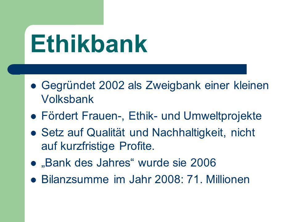Ethikbank Gegründet 2002 als Zweigbank einer kleinen Volksbank