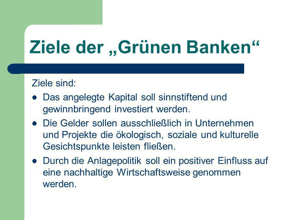 """Ziele der """"Grünen Banken"""