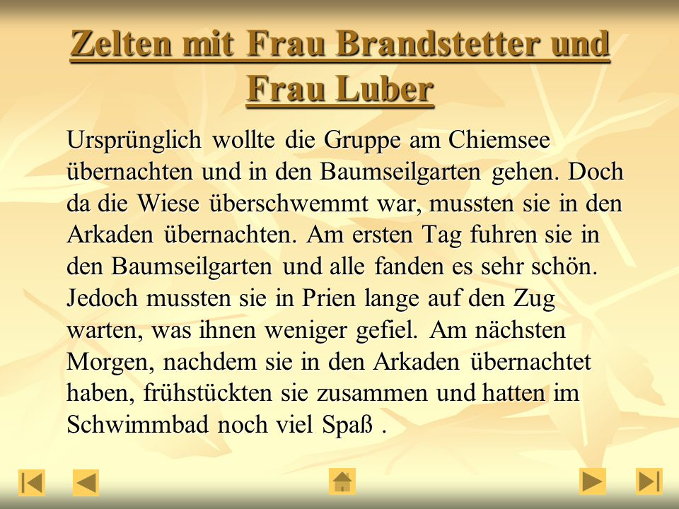 Zelten mit Frau Brandstetter und Frau Luber