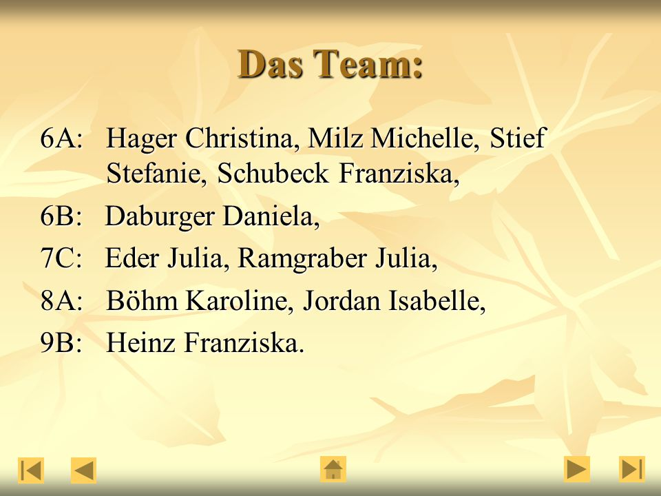 Das Team: 6A: Hager Christina, Milz Michelle, Stief Stefanie, Schubeck Franziska, 6B: Daburger Daniela,