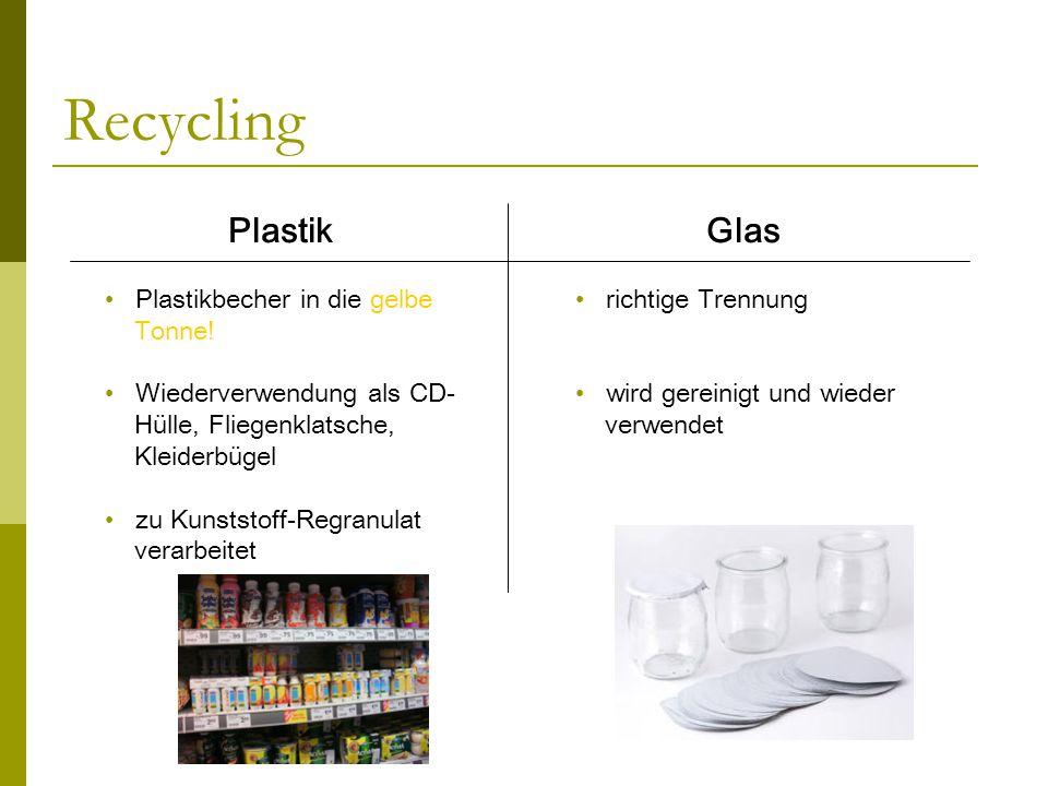 Recycling Plastik Glas Plastikbecher in die gelbe Tonne!