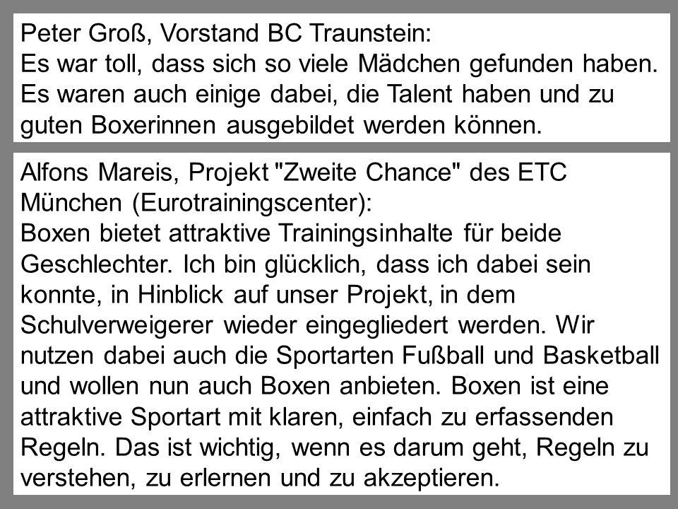 Peter Groß, Vorstand BC Traunstein: