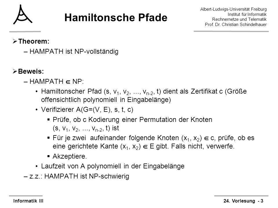 Hamiltonsche Pfade Theorem: HAMPATH ist NP-vollständig Beweis: