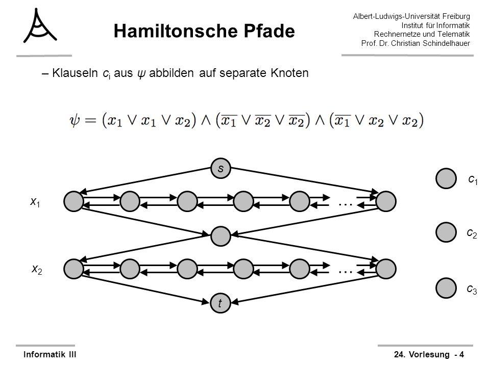 Hamiltonsche Pfade … Klauseln ci aus ψ abbilden auf separate Knoten s