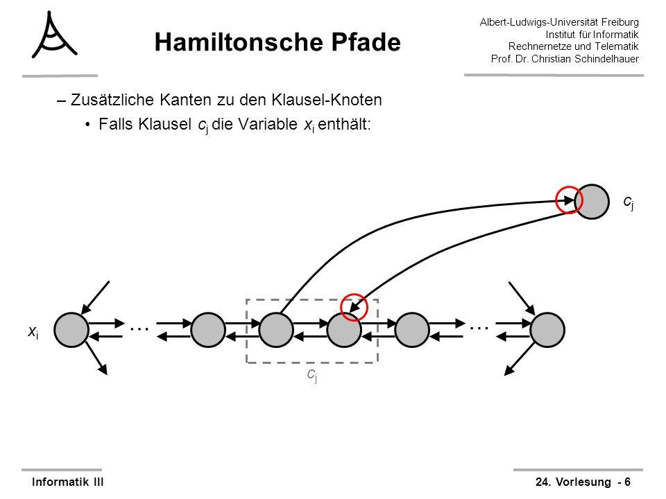 Hamiltonsche Pfade … Zusätzliche Kanten zu den Klausel-Knoten