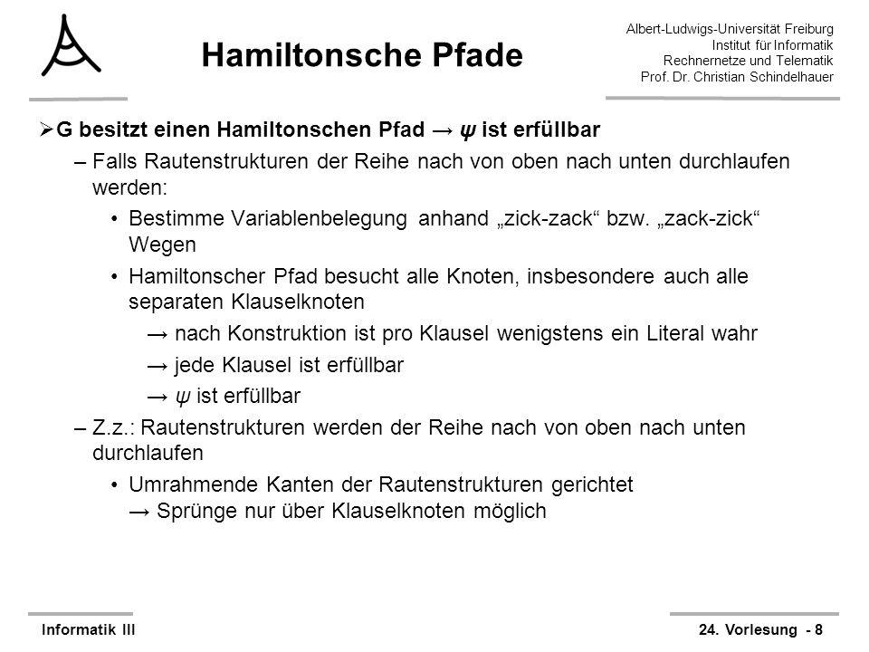 Hamiltonsche Pfade G besitzt einen Hamiltonschen Pfad → ψ ist erfüllbar.