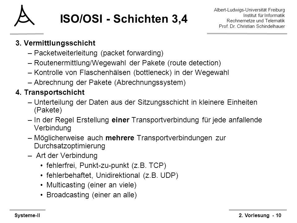 ISO/OSI - Schichten 3,4 3. Vermittlungsschicht