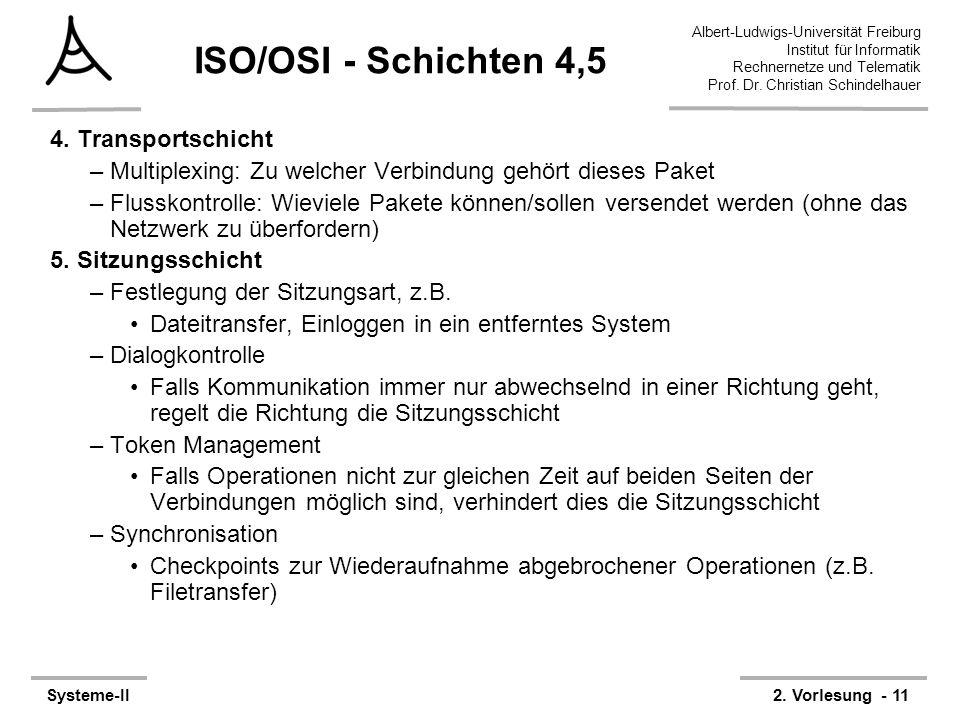 ISO/OSI - Schichten 4,5 4. Transportschicht