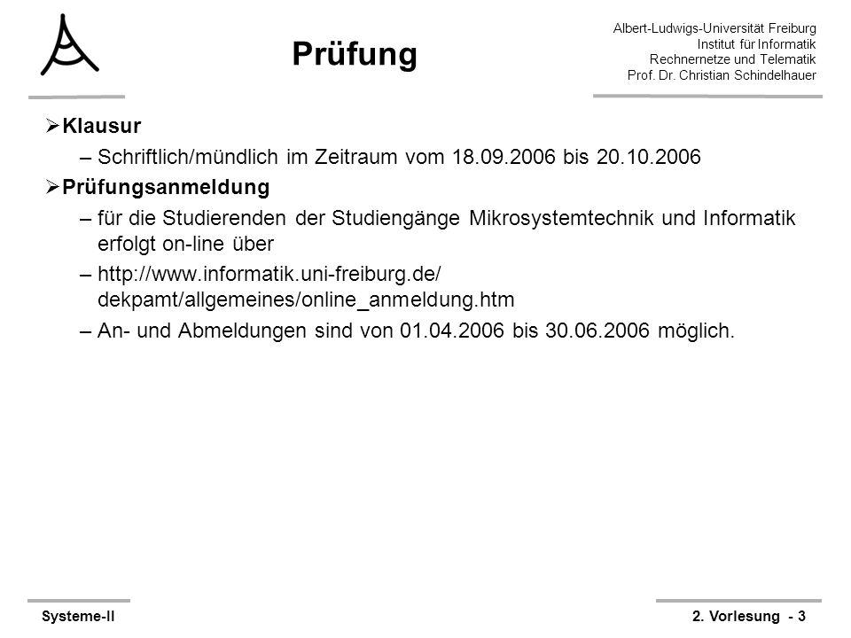 Prüfung Klausur. Schriftlich/mündlich im Zeitraum vom 18.09.2006 bis 20.10.2006. Prüfungsanmeldung.