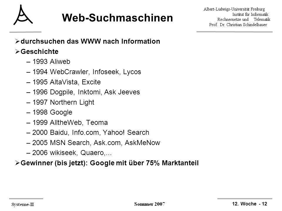 Web-Suchmaschinen durchsuchen das WWW nach Information Geschichte