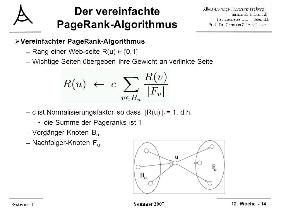 Der vereinfachte PageRank-Algorithmus