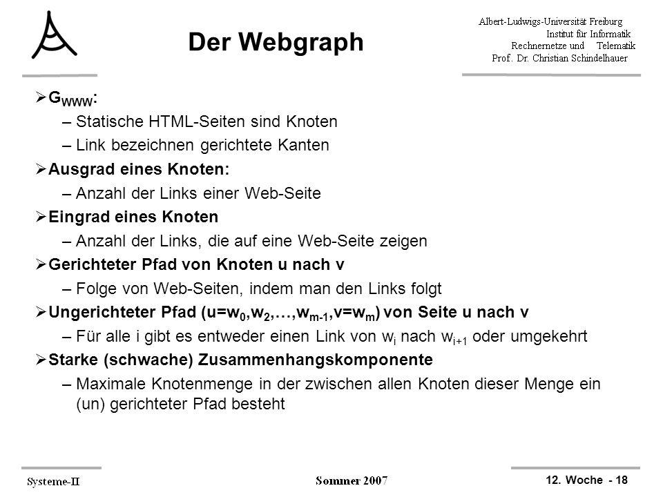 Der Webgraph GWWW: Statische HTML-Seiten sind Knoten