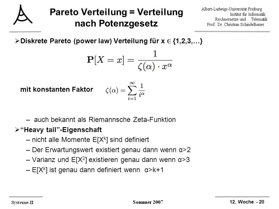 Pareto Verteilung = Verteilung nach Potenzgesetz