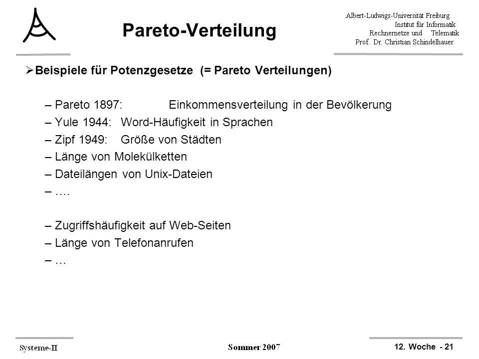 Pareto-Verteilung Beispiele für Potenzgesetze (= Pareto Verteilungen)