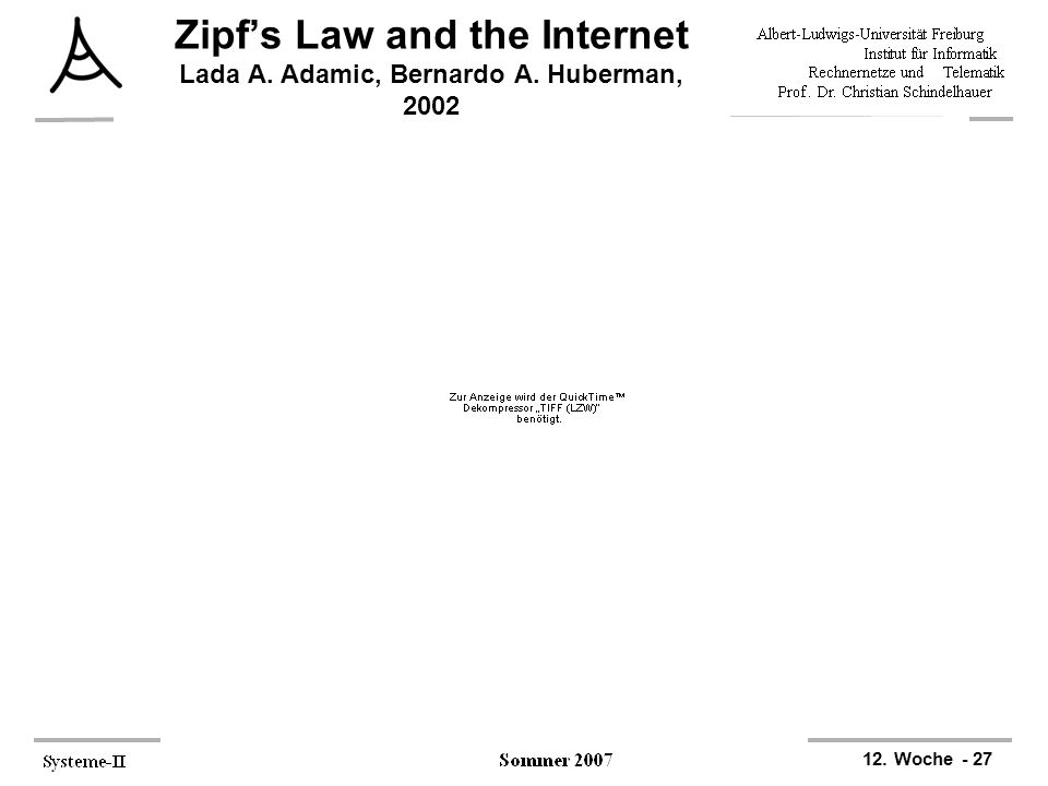 Zipf's Law and the Internet Lada A. Adamic, Bernardo A. Huberman, 2002