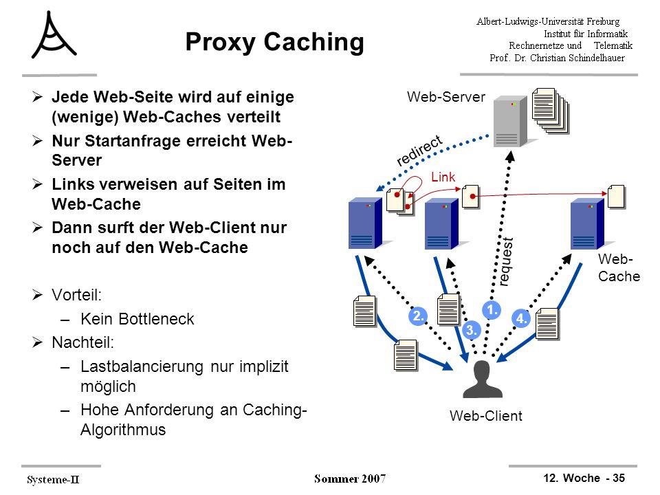 Proxy Caching Jede Web-Seite wird auf einige (wenige) Web-Caches verteilt. Nur Startanfrage erreicht Web-Server.