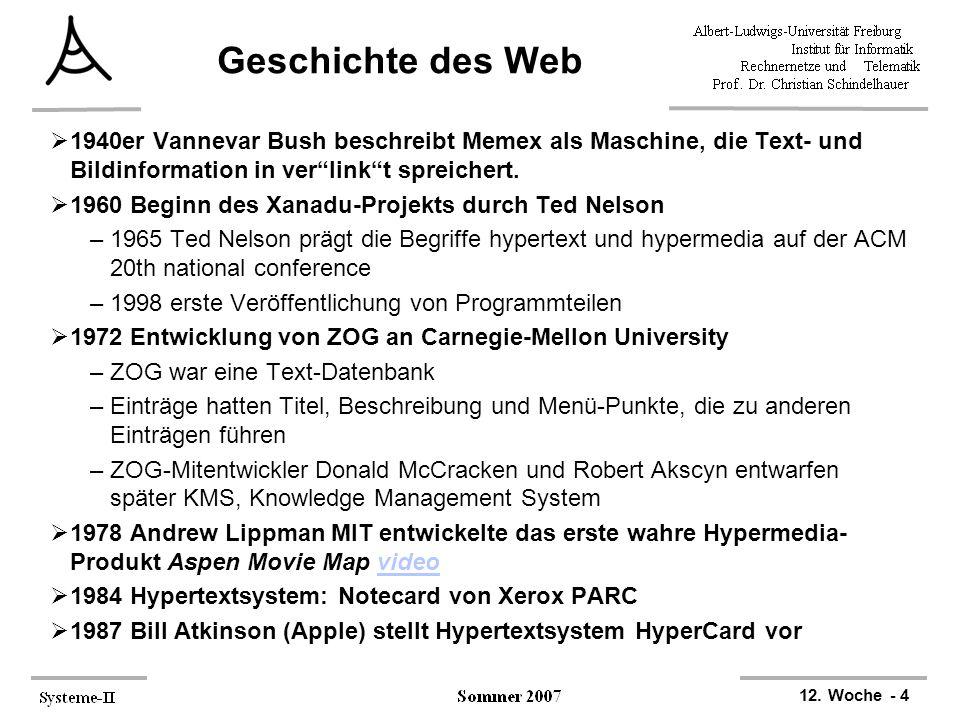 Geschichte des Web 1940er Vannevar Bush beschreibt Memex als Maschine, die Text- und Bildinformation in ver link t spreichert.