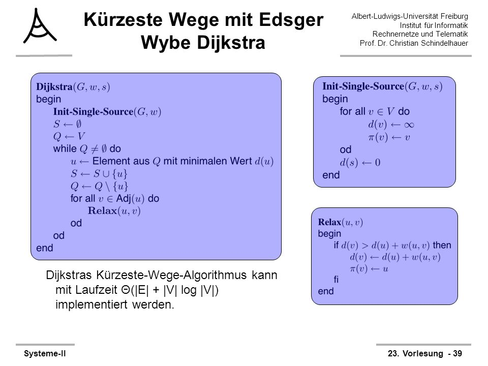 Kürzeste Wege mit Edsger Wybe Dijkstra