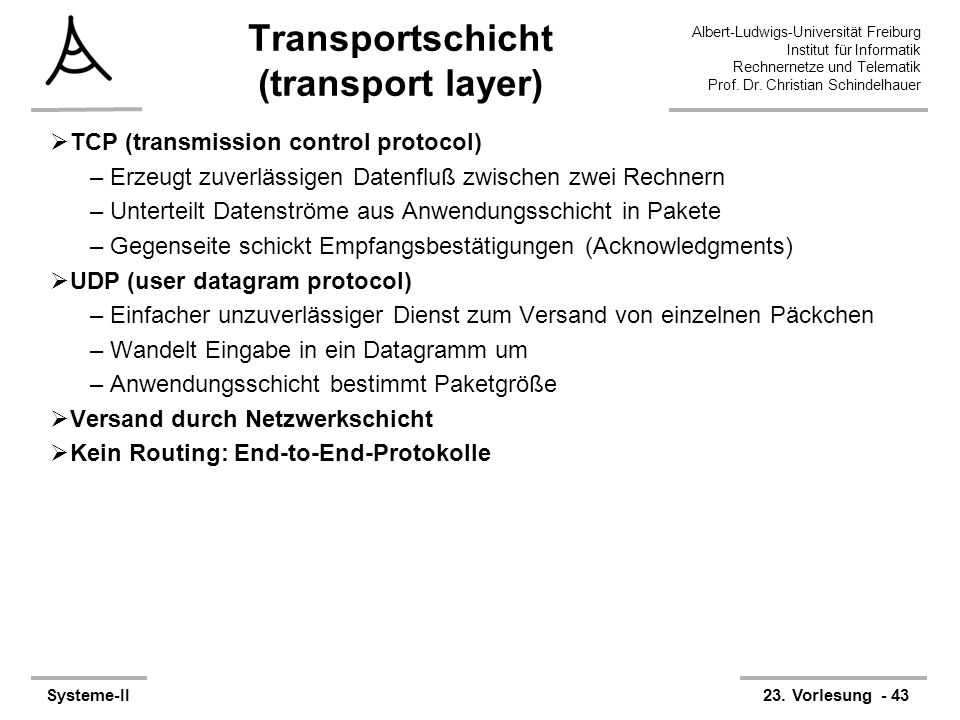 Transportschicht (transport layer)