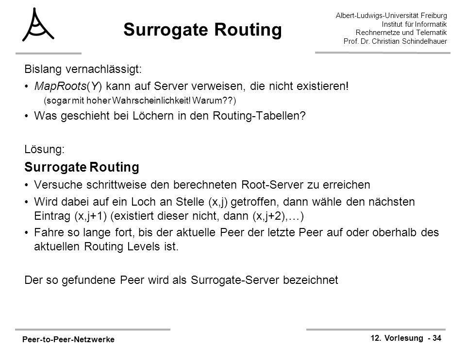 Surrogate Routing Surrogate Routing Bislang vernachlässigt: