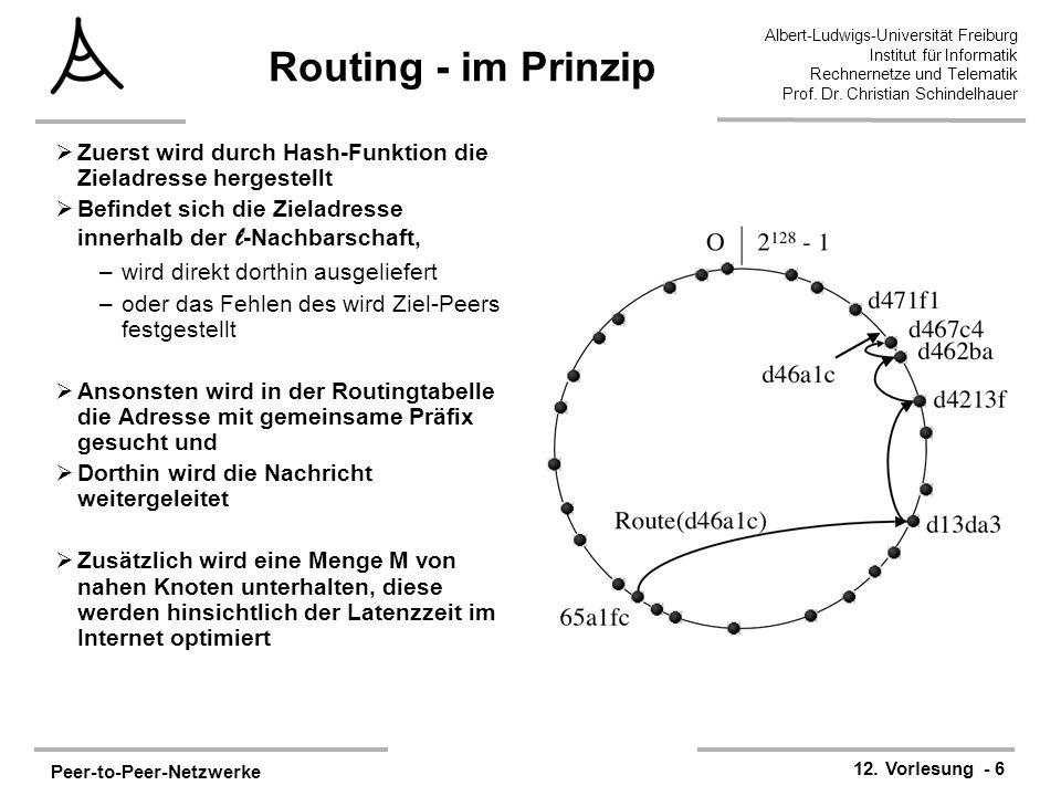 Routing - im Prinzip Zuerst wird durch Hash-Funktion die Zieladresse hergestellt. Befindet sich die Zieladresse innerhalb der l-Nachbarschaft,
