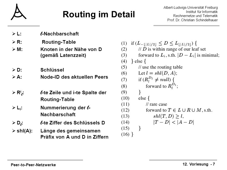 Routing im Detail L: l-Nachbarschaft R: Routing-Table