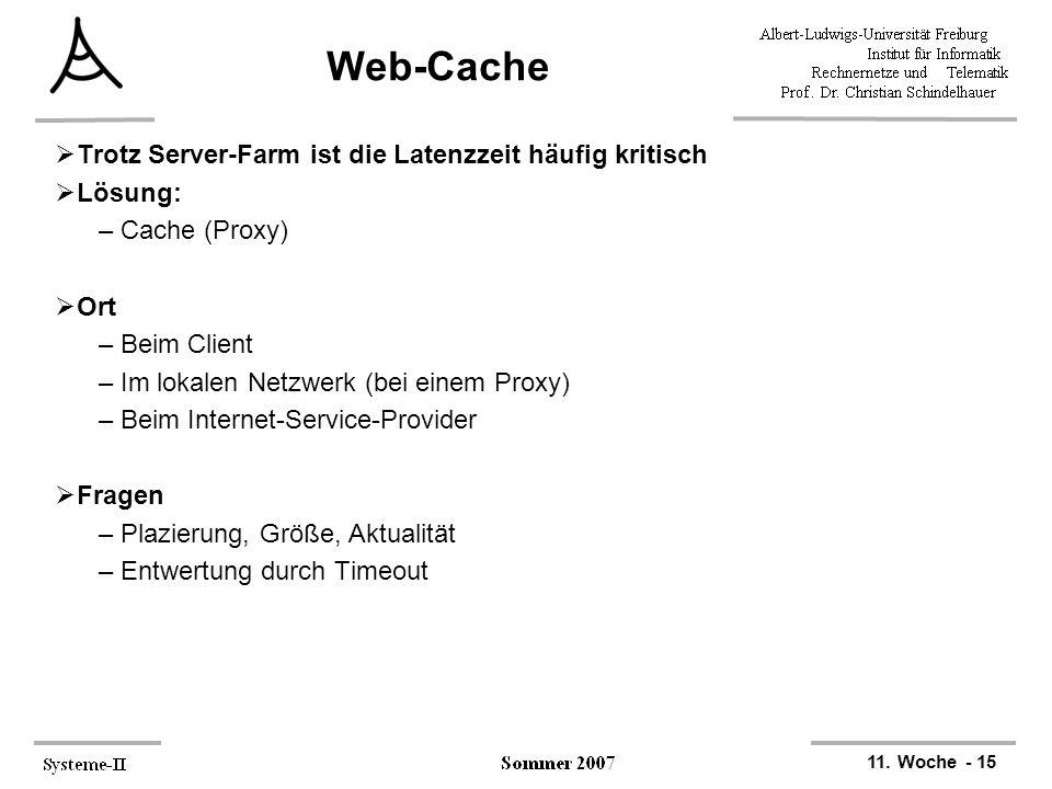 Web-Cache Trotz Server-Farm ist die Latenzzeit häufig kritisch Lösung: