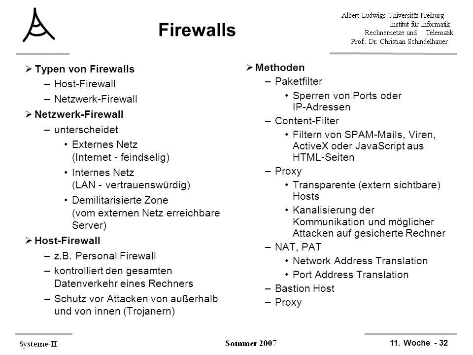 Firewalls Typen von Firewalls Host-Firewall Netzwerk-Firewall