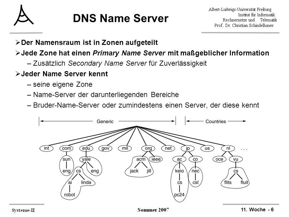 DNS Name Server Der Namensraum ist in Zonen aufgeteilt